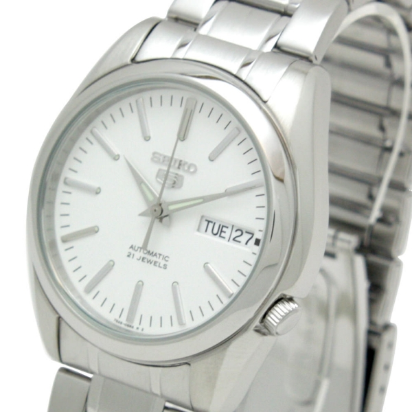 new concept a3630 deec3 Details about SEIKO 5 SNKL41 SNKL41K1 Automatic 21 Jewels White Dial  Stainless Steel Watch
