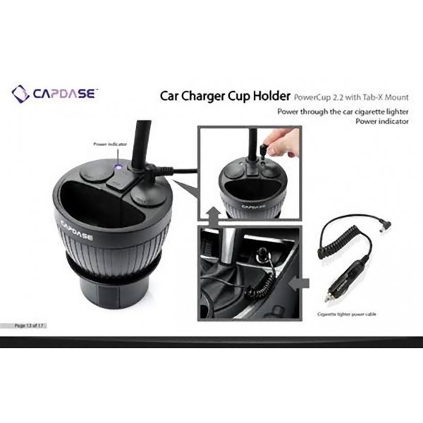Capdase Car Charger Cup Holder Powercup   With Tablet Mount