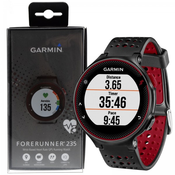 b047d1c0e82 Garmin Forerunner 235 Wrist-Based Heart Rate GPS Running Watch - Black   Red  753759159221