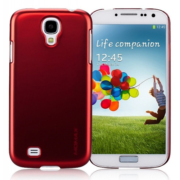 Momax Ultra Thin Glossy Metallic Case with Crystal Clear Screen Protector for Samsung Galaxy S4 i9500 - Red Color