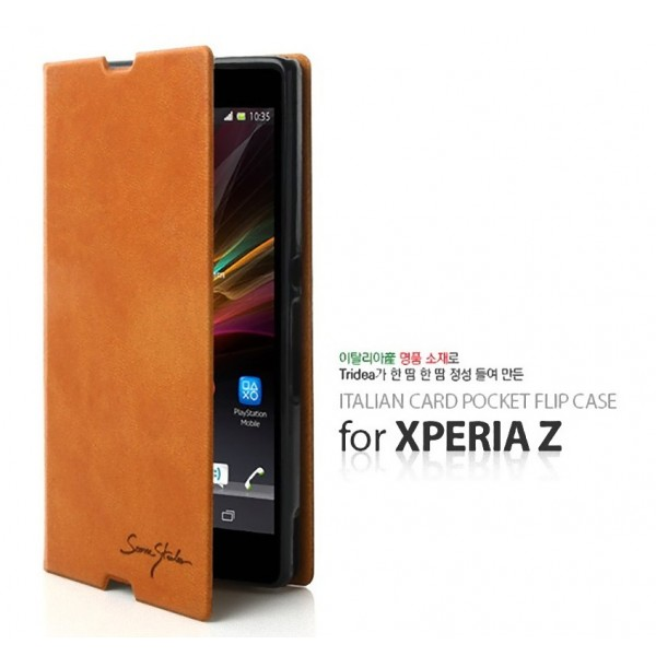 new product 0e4ce a5972 Details about Tridea Premium Italian Card Pocket Flip Cover Case for Sony  Xperia Z Android